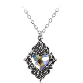 English Pewter with Crystals Crystal Heart Necklace