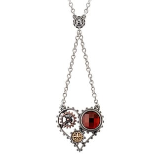 "Two-tone Women's English Pewter with Crystals ""Coeur Du Moteur"" Necklace"