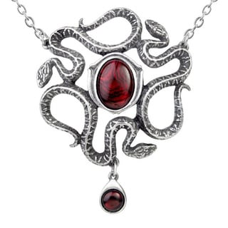 English Pewter Red Abalone Stone Serpents Eye Necklace