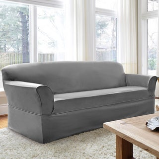 CoverWorks Tara Twill 1-piece Relaxed Fit Sofa Slipcover