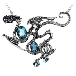 English Pewer with Aqua Crystals Dragon Necklace