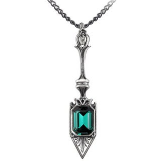 English Pewter with Crystal Sucre Vert Absinthe Spoon Necklace