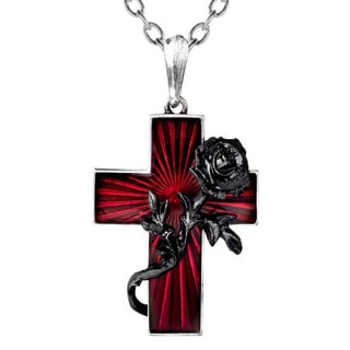 English Pewter with Enamel and Blackened Pewter Rose Order of The Black Rose Necklace