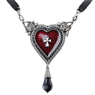 English Pewter with Crystals, Enamel and Ribbon The Sacred Heart Necklace