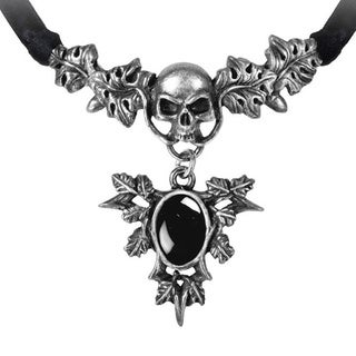 English Pewter with Black Onyx and Black Ribbon Catafalque Necklace