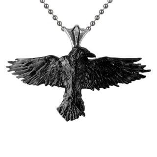 Blackened English Pewter Black Raven Necklace