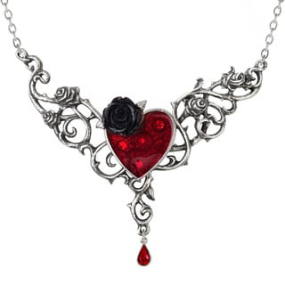 English Pewter Blood Rose Heart Necklace with Enamel, Blackened Pewter and Crystals