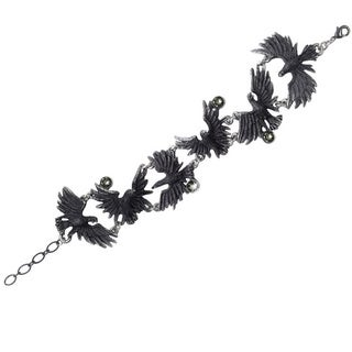 Blackened English Pewter Flocking Ravens Bracelet