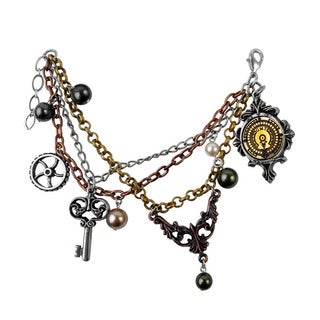 Tri Toned English Pewter with Brass Inlay and Austrian Crystal Pearls Mrs. Hudsons Cellar Keys Bracelet
