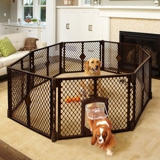 North States Pet Containment Play Pen with Swinging Dog Door
