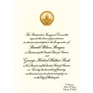 American Coin Treasures Official Ronald Reagan First Presidential Inauguration Invitation
