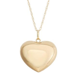 Gioelli 14k Yellow Gold Puff Heart Necklace