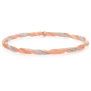 Gioelli Rose Goldplated Sterling Silver Twisted Glitter Bangle