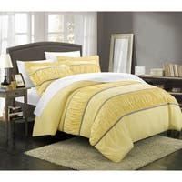 Chic Home Elizabeth Pleated and Ruffled 3-piece Duvet Cover Set