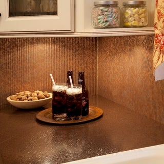 Fasade Rib Backsplash in Cracked Copper 18-square-foot Kit