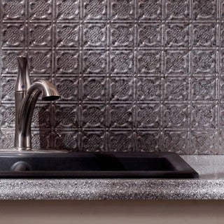 Fasade Traditional Style #6 Backsplash in Galvanized Steel 18-square-foot Kit