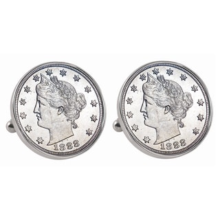 American Coin Treasures Silvertone 1800s Liberty Nickel Bezel Cuff Links