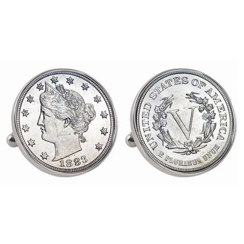 American Coin Treasures Silvertone 1883 First-Year-of-Issue Liberty Nickel Bezel Cuff Links - Silver