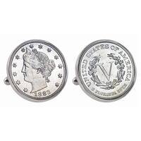 American Coin Treasures Silvertone 1883 First-Year-of-Issue Liberty Nickel Bezel Cuff Links