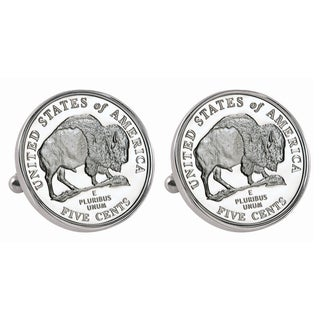 American Coin Treasures Silvertone Westward Journey 2005 Bison Jefferson Nickel Bezel Cuff Links - Silver