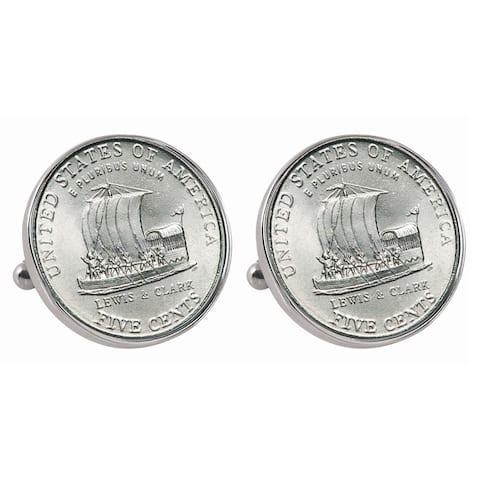 American Coin Treasures Silvertone Westward Journey 2004 Keelboat Jefferson Nickel Bezel Cuff Links - Silver