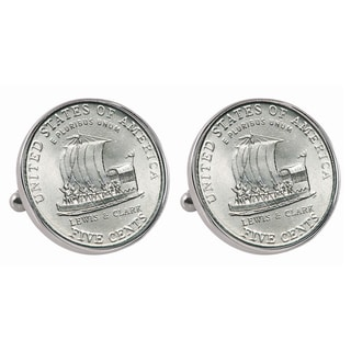 American Coin Treasures Silvertone Westward Journey 2004 Keelboat Jefferson Nickel Bezel Cuff Links Silver
