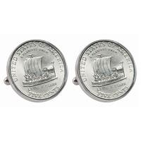 American Coin Treasures Silvertone Westward Journey 2004 Keelboat Jefferson Nickel Bezel Cuff Links - Silver