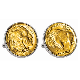 American Coin Treasures Gold-Plated Buffalo Nickel Silvertone Bezel Cuff Links