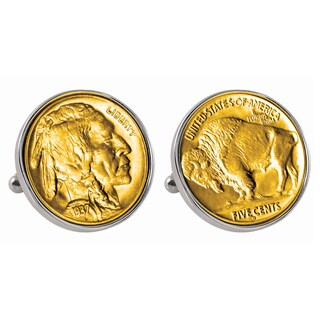 American Coin Treasures Gold-Plated Buffalo Nickel Silvertone Bezel Cuff Links - Silver