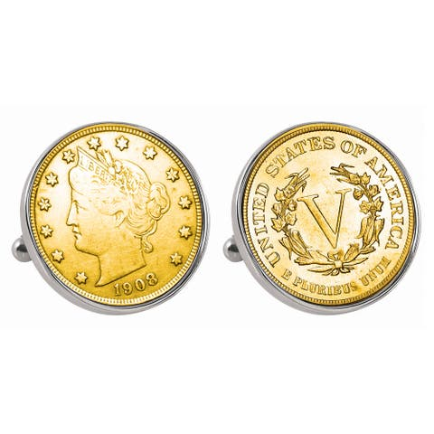 American Coin Treasures Gold-Plated Liberty Nickel Silvertone Bezel Cuff Links - Silver