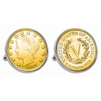 American Coin Treasures Gold-Plated Liberty Nickel Silvertone Bezel Cuff Links