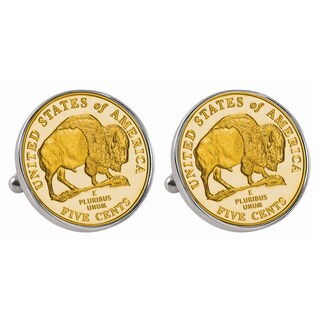 American Coin Treasures Gold-Plated Westward Journey 2005 Bison Jefferson Nickel Cuff Links