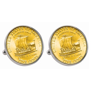 American Coin Treasures Gold-Plated Westward Journey 2004 Keelboat Jefferson Nickel Cuff Links