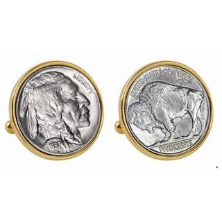 American Coin Treasures Buffalo Nickel Goldtone Bezel Cuff Links