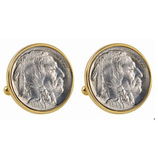 American Coin Treasures 1913 First-Year-of-Issue Buffalo Nickel Goldtone Bezel Cuff Links