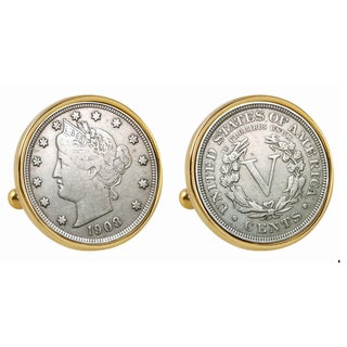 American Coin Treasures Liberty Nickel Goldtone Bezel Cuff Links