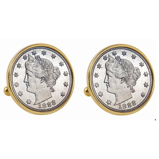 American Coin Treasures 1800s Liberty Nickel Goldtone Bezel Cuff Links
