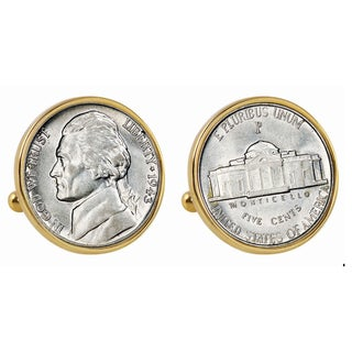 American Coin Treasures Silver Jefferson Nickel Wartime Nickel Goldtone Bezel Cuff Links