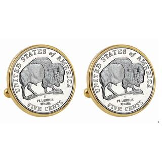American Coin Treasures 2005 Bison Nickel Goldtone Bezel Cuff Links