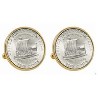 American Coin Treasures 2004 Keelboat Nickel Goldtone Bezel Cuff Links