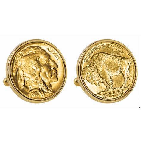 American Coin Treasures Gold-Plated Buffalo Nickel Goldtone Bezel Cuff Links