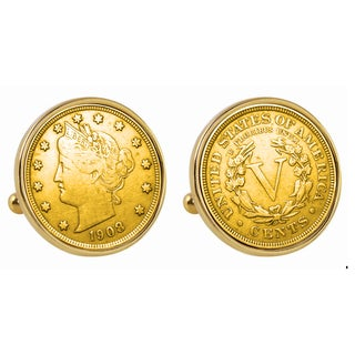 American Coin Treasures Gold-Plated Liberty Nickel Goldtone Bezel Cuff Links
