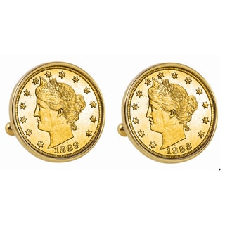American Coin Treasures Gold-Plated 1800s Liberty Nickel Goldtone Bezel Cuff Links