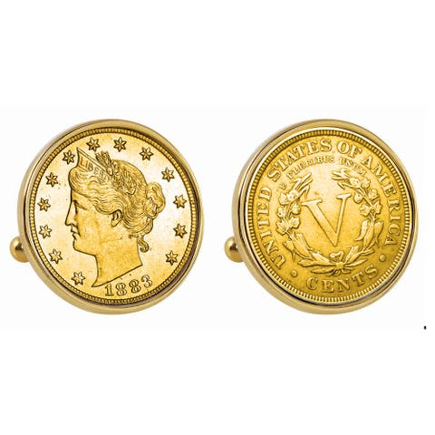 American Coin Treasures Gold-Plated 1883 First-Year-of-Issue Liberty Nickel Goldtone Bezel Cuff Lin