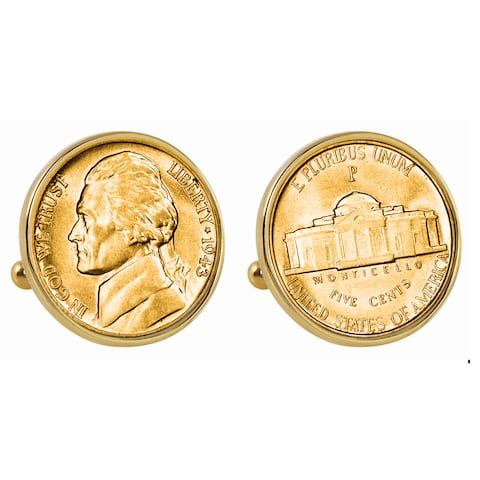 American Coin Treasures Gold-Plated Silver Jefferson Wartime Nickel Goldtone Cuff Link