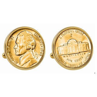 American Coin Treasures Gold-Plated Silver Jefferson Nickel Wartime Nickel Goldtone Bezel Cuff Link
