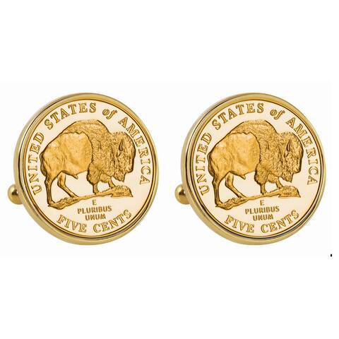 American Coin Treasures Gold-Plated 2005 Bison Nickel Goldtone Bezel Cuff Links