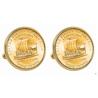 American Coin Treasures Gold-Plated 2004 Keelboat Nickel Goldtone Bezel Cuff Links