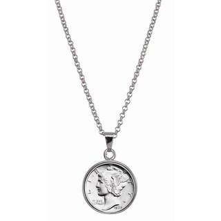 American Coin Treasures Silver Mercury Dime Silvertone Necklace