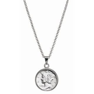 American Coin Treasures Silver Mercury Dime Silvertone Necklace